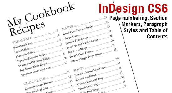 InDesign CS6: Page Numbers, Section Markers and Table of Contents